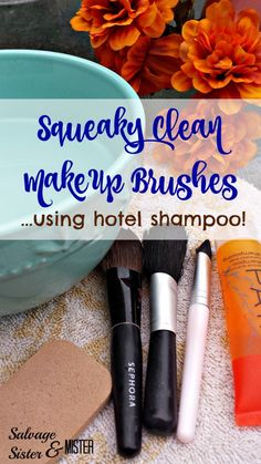 When was the last time you cleaned your makeup brushes?  Do you know how to clean your brushes properly so they last longer.  Here is an easy way to do it using hotel shampoo.  Use what you have.