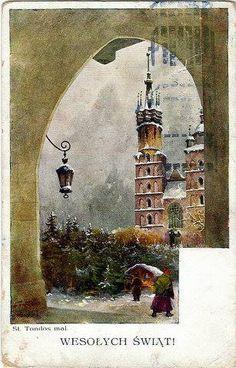Polish Christmas, Christmas Diy, Vintage Winter, Vintage Christmas Cards, Krakow, Poland, Cute Pictures, Fairy Tales, Seasons