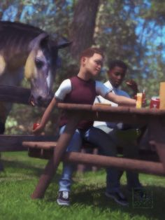 """""""Murray Had a Big Ole Horse"""" - Don't tell Murray's mom that he has been feeding his lunch apples to the horse!"""