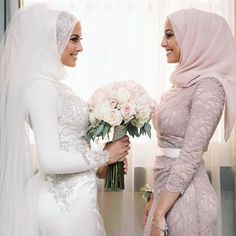 In each different culture, there is a different common look for the bride at weddings. Wedding Hijab styles are no different in the Muslim c. Hijabi Wedding, Wedding Hijab Styles, Muslimah Wedding Dress, Hijab Style Dress, Disney Wedding Dresses, Muslim Brides, Pakistani Wedding Dresses, Wedding Gowns, Wedding Cakes