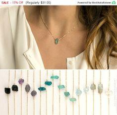 Black Friday Sale Raw Crystal Necklace / 14k by LayeredAndLong
