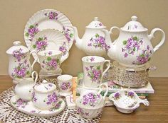 Violets Bone China Tea Set Service for 4 - Coffee Set - Ideas of Coffee Set - Tea Cup Set, Cup And Saucer Set, Tea Cup Saucer, China Tea Sets, Teapots And Cups, Tea Service, Coffee Set, My Tea, Bone China