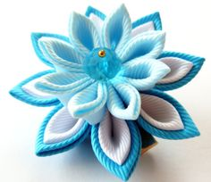 Kanzashi fabric flowers. Set of 2 hair clips. Turquoise by JuLVa