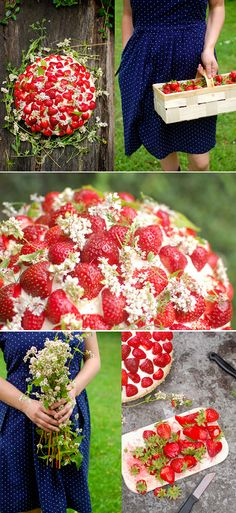 Beautiful Strawberry Wildflower Cake (use white dome cake, any flavor, 2 pints strawberries and edible wildflowers NOT sprayed w/pesticides.)