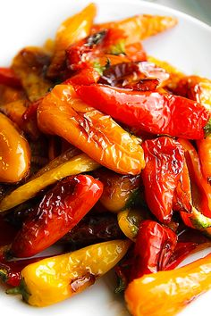PAN FRIED SWEET MINI PEPPERS with basil leaves and balsamic vinegar | Philos Kitchen