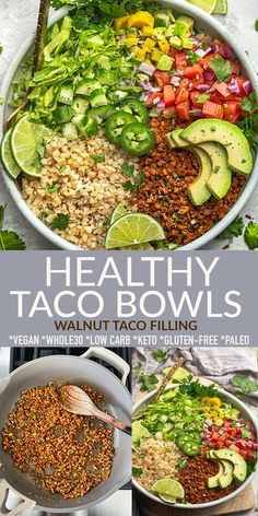 These healthy loaded vegetarian Taco Bowls are quick and easy to make and loaded with cauliflower rice, pico de gallo, avocado, shredded lettuce and a vegan cauliflower walnut filling. This Vegan Taco Bowl recipe is a healthy and veggie packed lunch or dinner to satisfy that veggie taco craving. Gluten-free, grain-free, low carb, dairy-free, keto vegan, paleo and Whole30 compliant. #tacobowl #vegan #glutenfree #keto Veggie Tacos, Vegetarian Tacos, Healthy Tacos, Vegetarian Recipes Easy, Easy Dinner Recipes, Paleo Recipes, Mexican Food Recipes, Whole Food Recipes, Easy Meals