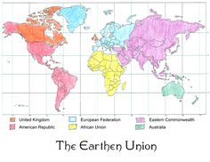 The Earthen Union. Colored using my own limited knowledge of geography. Subject to change.