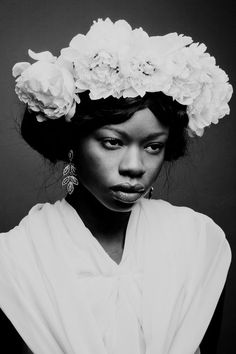 Frida Kahlo inspiration, Wedding photography inspiration, Floral hair piece in white, black and white photography photo by Camille Collin, styling by Diane Cabasse Black And White Portraits, Black And White Photography, Diane, Queen Hair, Portrait Inspiration, Beautiful Black Women, Beautiful Beautiful, Black Girl Magic, Black Girl White Hair