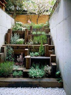plants and timbers - for small garden spaces! Diy Herb Garden, Lawn And Garden, Home And Garden, Garden Steps, Hill Garden, Planter Garden, Herbs Garden, Easy Garden, Indoor Garden