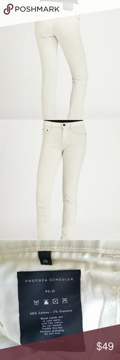 Proenza Schuler Creamy White Jeans NWT size 25 Soft ivory white cotton jeans from Proenza Schuler with perfect give, these beautiful denim pants fit a true 25. Take you anywhere! Proenza Schouler Pants