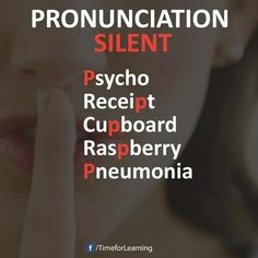 Pronunciation silent P English Help, English Speaking Skills, English Writing Skills, Learn English Words, English Tips, English Fun, English Study, Education English, English Lessons