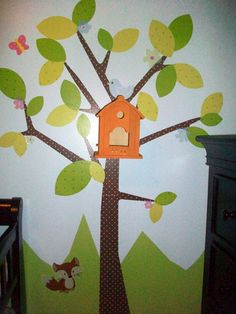 I adore this!!! Marisa added a real birdhouse to our Kids Tree wall decal, then put a night light inside. So cute for her daughter's nursery!