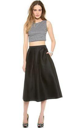 Harvey Faircloth Sailor Stripe Crop Tank and Tibi Simona Jacquard Skirt