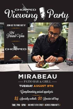 CHOPPED viewing party @ Bar Mirabeau   https://www.facebook.com/events/486127328122555/