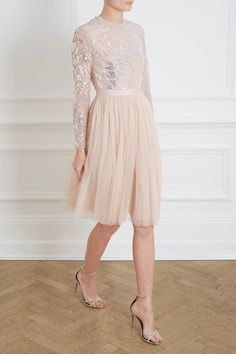 0d53df7ded44 Floral Gloss Bodice Midi Dress in Rose Quartz from the Needle & Thread PS19  Collection Needle