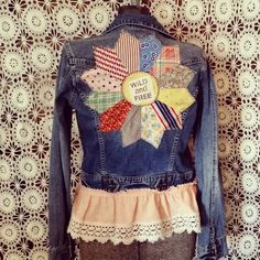 Up-cycled denim jacket with vintage quilt square, Wild and Free patch and vintage pink ruffle trim Size Small