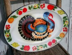 Retro Vintage Enamel or Enamelware Bright Turkey Serving Platter - The Perfect Antique Serving Dish for Fall + Thanksgiving