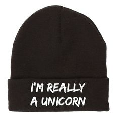 Black stretchable beanie with a saying on it. One size only.
