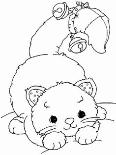 Playful Cat with bells coloring page.