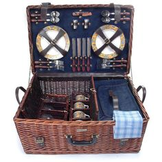 THE RIVIERA BROWN Outdoor Collection BBQ Camping Willow Picnic Basket Set for 4 #PicnicBeyond