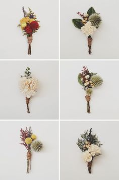 preserved flower boutonnieres [http://www.etsy.com/shop/ThreeLittleBirds1222?section_id=11993724]: