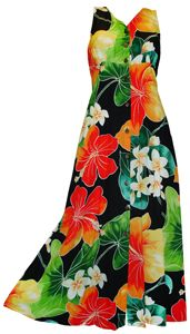 acd39f9d1340 Tropical Bloom - Hawaiian Print Long Tank Dress Button Front - Black  Tropical Outfit, Tropical