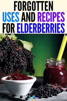 Wonderful Elderberries - Surprising Uses & Recipes Best Elderberry Recipe Ideas for Health and Wellbeing! This collection of the best elderberry recipes will show you how to make jam, jelly, syrup, gum. Elderberry Uses, Elderberry Recipes, Elderberry Jelly Recipe, Elderberry Benefits, Elderberry Gummies, Natural Cures, Natural Health, Natural Treatments, Natural Foods