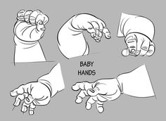 Baby Drawing Tutorial Animation Ideas For 2019 Character Sketches, Character Design References, Hand Reference, Drawing Reference, Caricature, Hand Anatomy, Hand Pose, Drawing Exercises, Baby Drawing