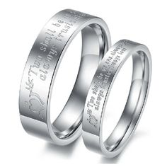 """""""Two Shall Be As One"""" Lover Rings Engravable Titanium Steel(Price For A Pair)"""
