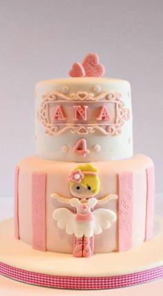 Ana ballerina : I love this cake. Made for a little girl who loves ballet and everything pink. I hope you had a fantastic day Ana xxx Ballet Cakes, Dance Cakes, Ballerina Cakes, Ballerina Birthday Parties, Birthday Cake Girls, Ballerina Party, Ballerina Pink, Pink Birthday, Girly Cakes