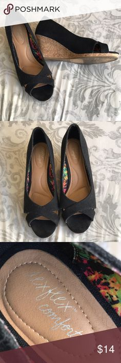 Black Wedges (Wide Fit) Cute, black wedges. Peep toe. Super comfy. Wide fit. Easy to walk in. Worn twice. Perfect for spring and summer. Shoes Wedges