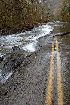 Road washed out by flood, WA state.
