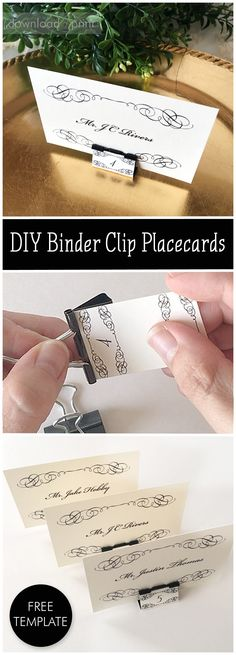 These place cards are easy and inexpensive to make with just a binder clip and the free printables. I can see them at an elegant wedding or dinner party.