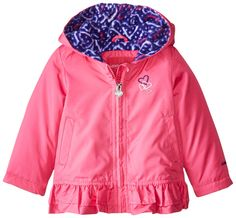 London Fog Baby Girls Poly Fleece Lined Jacket, Pink, 18 Months