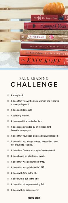 Take An Ultimate Fall Reading Challenge! --  Instead of offering specific books, they are  offering different types of books to try, and you might just like this fun way to diversify your to-be-read pile.: