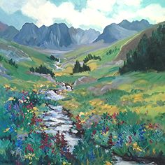 Wildflowers at American Basin by Laura Reilly Acrylic ~ 20 x 20