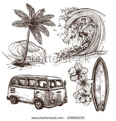 Surfing sport and lifestyle wave surfboard beach and van sketch decorative icon set isolated vector illustration - stock vector