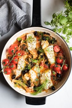 Easy One Pan Mediterranean Cod with Fennel, Kale, and Black Olives | Abra's Kitchen