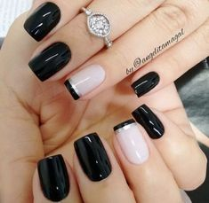 50 Awesome French Tip Nails to give your manicure another dimension - Most Trending Nail Art Designs in 2018 Acrylic Nail Designs, Nail Art Designs, Nails Design, Pedicure Designs, Design Art, Black Manicure, Black Nails, Black Polish, Special Nails