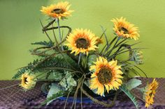 Silk Sunflower Arrangement by AdamsFloristandGifts on Etsy, $89.95 Check out this Etsy page.