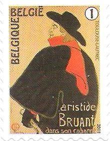 belgian stamps Toulouse-Lautrec -self-adhesive. Bruant dans son cabaret (1893)