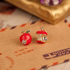 sydkoreanske lille smykker engros mode søde røde emalje dråbe øreringe asymmetrisk æble (tilfældig farve) – EUR € 0.99