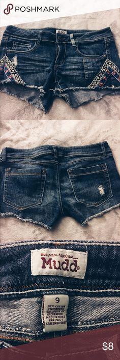 tribal denim shorts denim shorts with detailing Mudd Shorts Jean Shorts
