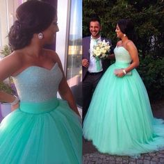Ball+Gown+Sweetheart+Sweep/Brush+Train+Tulle+Beautiful+Prom+Dresses+2016+#SP8335