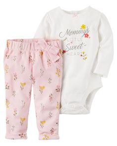 Crawling, playing or sleeping, she's cute and comfy in this 2-piece set! Complete with a puff printed floral bodysuit and easy-on printed pants.