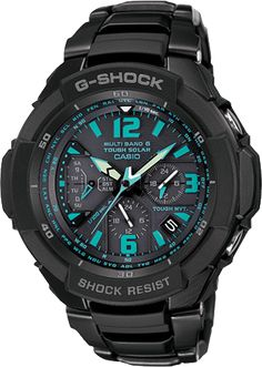G-Shock GW3000BD-1A    Introducing the new large case Aviation concept watch with a 1/100-second chronograph designed to keep accurate time even under the stresses of high G forces that occur during air racing. Black stainless steel band analog watch with blue face.  Tough Solar Power  Multi-Band 6 Atomic Timekeeping  Tough Movement  Centrifugal Force Resistance surpassing 12G    $360