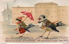CPA Animal Humanisé Position Humaine Oiseau Mésange Parapluie Umbrella Fantaisie Illustrateur - Oiseaux