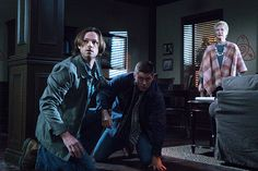 "Supernatural -- ""Into The Mystic"" -- Image -- Pictured (L-R): Jared Padalecki as Sam, Jensen Ackles as Dean and Dee Wallace as Mildred Harper -- Photo: Liane Hentscher/The CW -- © 2016 The CW Network, LLC. All Rights Reserved. Supernatural Season 11, Supernatural Christmas, Supernatural Episodes, Sam Winchester, Winchester Supernatural, Mark Sheppard, Jared Padalecki, Misha Collins, Castiel"