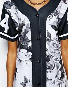 Image 3 ofIchiban Mono Floral Baseball Jersey Dress