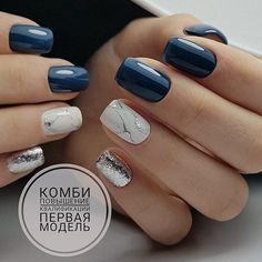 50 Elegant Nail Art Designs For Women 2019 – Page 8 of 50 - Nailart Stylish Nails, Trendy Nails, Chic Nails, Elegant Nail Art, Yellow Nails, Navy Blue Nails, Navy Nail Art, Blue And Silver Nails, Nagel Gel